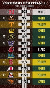Oregon Color-Coded Football Schedule