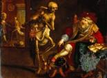 V0017592 Death and the miser. Coloured mezzotint after Frans van Fran