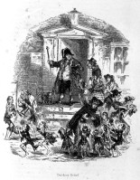 L0006802 Poor people coming to a workhouse for food, c. 1840