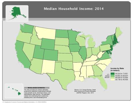 Median Household Income, 2014