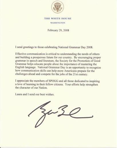 Bush Letter on National Grammar Day