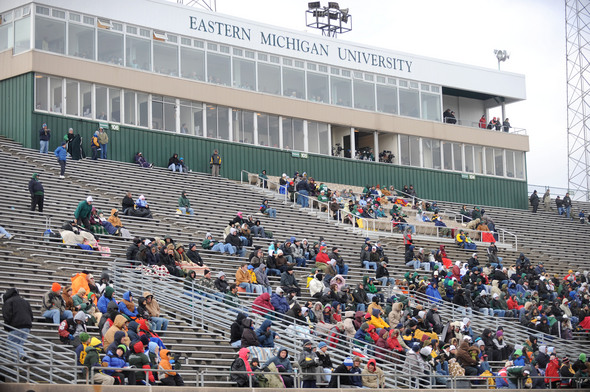 Few fans turned up to brave the icy weather during the Eagles football game against Northern Illinois at EMU's Rynearson Stadium in Ypsilanti, Mich. on Nov. 26, 2010. Angela J. Cesere | AnnArbor.com