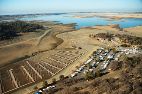 Aerial view at Folsom Lake showing low water at boat marina North of the dam. Shot 1/16/14.