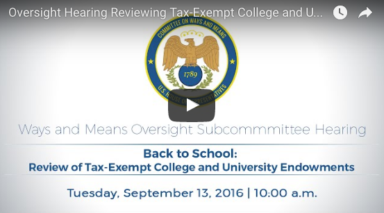 Not clickable: Congress Subcommittee Review of Tax-Exempt College University Endowments