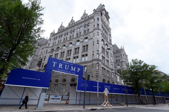 The New Trump hotel in Washington, Wednesday, July 8, 2015, continues being rehabbed for it's 2016 opening. Celebrity chef Jose Andres is backing out of a plan to open a flagship restaurant in Donald Trump's new hotel under construction in Washington. (AP Photo/Susan Walsh)
