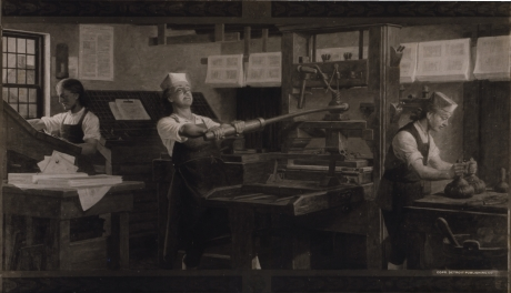 Reproduction of a Charles Mills painting by the Detroit Publishing Company. Depicts W:Benjamin Franklin at work on a printing press. It is unlikely Franklin would have ever worn a paper hat (paper being expensive in his day), making that something of an anachronism.