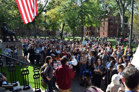 Workers and students raly in Harvard Yard